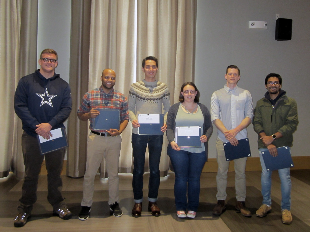 2016-2017 W.D. Walters Teaching Award Recipients:<br /> Jordan Andrews, Shukree Abdul-Rashed, Antonio Tinoco, Nikki Wolford, Dylan Parsons,  Sutirtha Chowdhury<br /> <br /> The W.D. Walters Teaching Award recognizes outstanding undergraduate teaching by graduate teaching assistants. This award memorializes the late Professor W.D. Walters and the standards of excellence and achievement exemplified by him. It also recognizes our appreciation for the commitment and achievements of the awardees and consists of a certificate and cash prize.