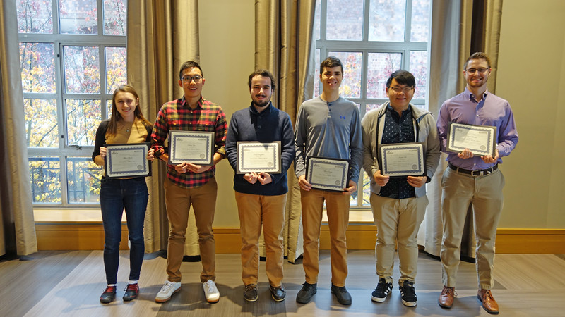 2017-2018 Scholar Award for Juniors Recipients: <br /> Allison Stanko, Nicholas Lim, Robert Scappaticci, Marco Caiola, Andrew Lee, Patrick Forrestel, Ian Brodka (not pictured)<br /> <br /> This award recognizes undergraduate students who in their junior year showed outstanding accomplishment and promise for a professional career in chemistry.  The award consists of a certificate and cash prize.