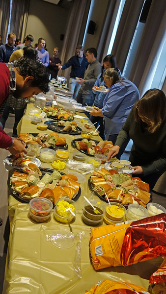 The Graduate Student Committee put on a great spread for lunch.  Panera Bread soup and sandwiches,  donuts, cider and more. Delicious!