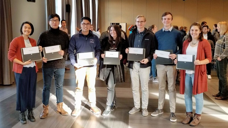 "2019 Junior Scholar Award recipients (left to right):<br /> Yimin ""Talia"" Chen, Jisoo Woo, Julian Maceren, Jana Jelusic, Andrew Sopchak, Paul Sinclair, and Michela Maiola<br /> <br /> This award recognizes undergraduate students who in their junior year showed outstanding accomplishment and promise for a professional career in chemistry.  The award consists of a certificate and cash prize."