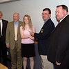 Left to right: Doyle King (KACP Executive Director), KBI Director Larry Welch (Scholarship Committee Chairman), Caitlin Shanks, Sheriff Randy Rogers (KSA President), Chief Rex Taylor (Roeland Park Police Department)