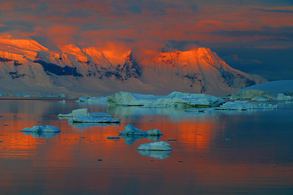 Sunset in Antarctica from the ship's deck