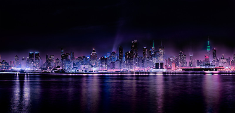 "Panoramic Manhattan with Nightfall - Augen 2013<br> <a href=""http://augenstudios.deviantart.com"">Deviant Art</a> August 2013 What's Hot"