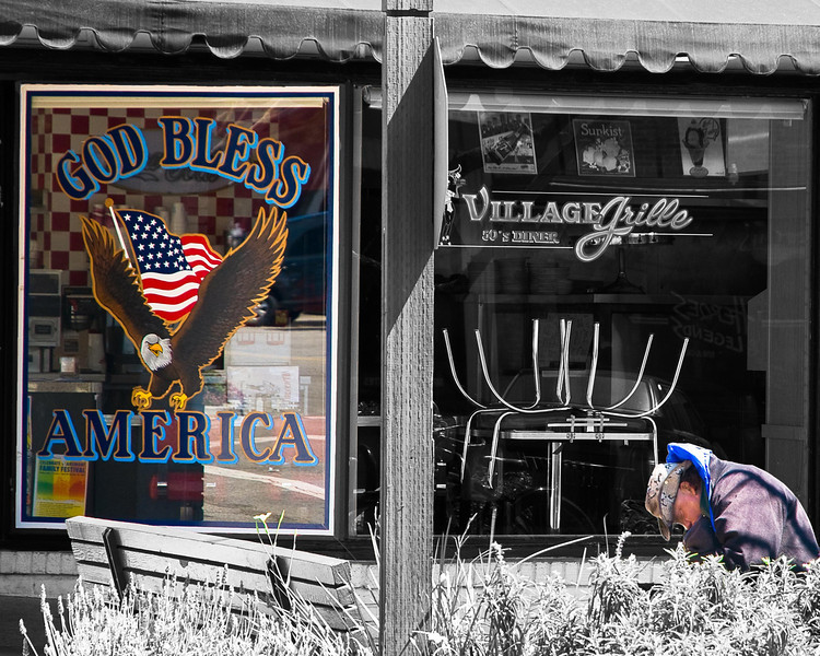 The Eagle & The Homeless, April 12, 2009. SoCal Fair 2011, 3rd Place, Black & White, Digital Manipulation.