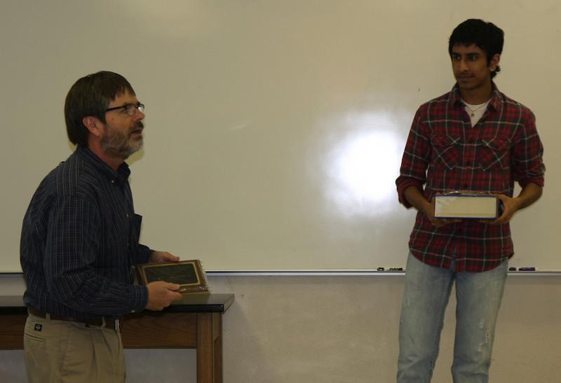 Nitesh Pitel is awarded the Outstanding Freshman Chemistry Award.