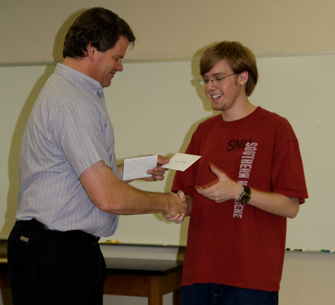 Nathan Adams is awarded the Outstanding Engineering Physics Award for his superior work in Physics for Scientists and Engineers.