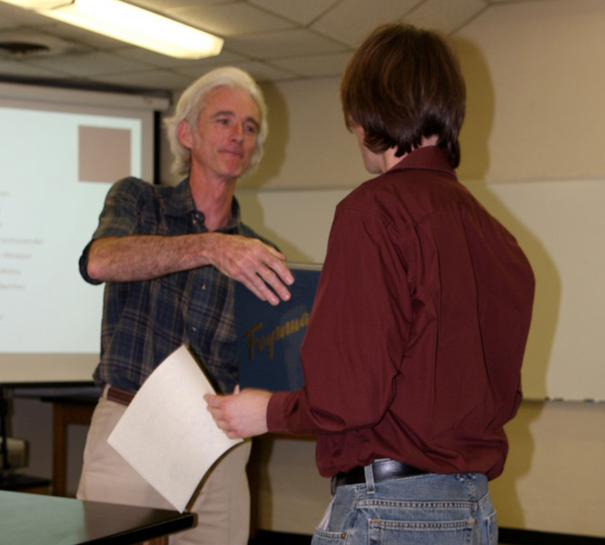 Trevor Meek receives the Feynman Lecture Series as part of his Outstanding Physics Major Award.