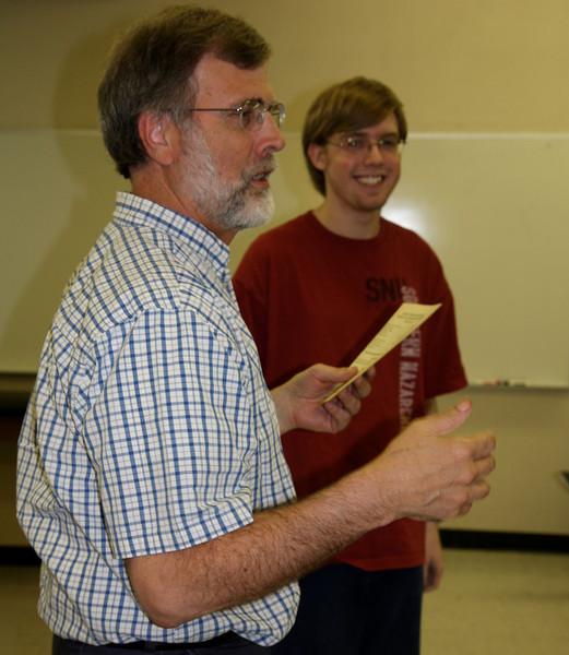 Dr. Lee Turner congratulates Nathan Adams on the Outstanding Freshman Mathematics Awards.