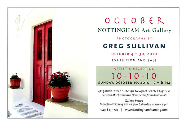 10-10-10 Nottingham Gallery Show the month of October 2010