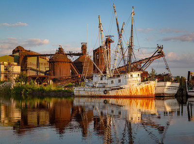 """Sunrise on Capt. James and the Georgetown Steel Mill"""