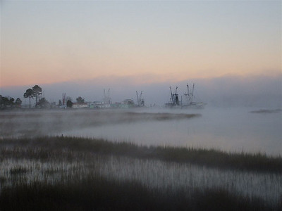 """Jack Fuchs - """"Morning Mist at Varnamtown Docks"""" - 2007 Brunswick County Parks and Recreation, Photography Contest - Digital Photography - First Place"""