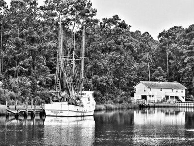 "David Keener - ""Taken Near Sunset Beach"" -  2009 Brunswick Parks & Recreation Photo Contest  - 1st Place Black & White Rivers/Coast"