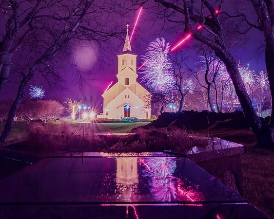 Church in fireworks