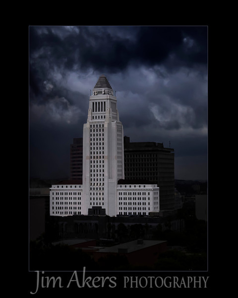 """Standing Tall""  Los Angeles City Hall during a rain storm.  I photographed this beautiful building from the Disney Music Center in the rain.  This photo took third place in the fall Santa Clarita Valley Photography Association photo competition."