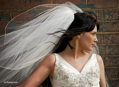 """Bridal Freedom"" Model: Rebecca;  ModelMayhem name: ""Rebecca Was A Recluse""  1st Position, David Ziser Master Class Spring 2010  Of 190 images submitted to David and LaDawn Ziser for critique during the Master Class, only 6 were published on his blog and this image was the first critiqued image published. David's comment during the workshop was ""This composition is a deliberate breaking of the rules -- and it really works.""  ""I love this first image that Robert took during our Tuesday shoot.  I love the blowing of the hair and veil.  The bride's simple expression, the background, and soft lighting all make for a great shot."" -David Ziser, Master Photographer"