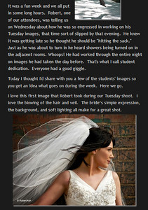 "Write-up by David Ziser of my image ""Bridal Freedom"". Published on David's blog digitalprotalk.blogspot.com on April 30, 2010."