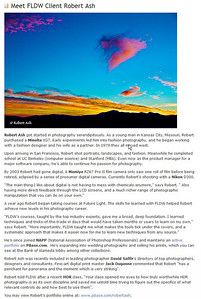 Article by Future Light Digital Workshops www.fldigital.com about me on May 19, 2009. FLDW is a top digital arts training center in San Francisco and is where I learned Photoshop and also studied HDR/HDRI (High Dynamic Range Imaging)