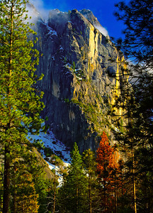 """A View of Majesty""  Merit Award winner Professional Photographers of the Greater Bay Area (PPGBA) print competition  Image of Cathedral mountains in Yosemite Valley, Yosemite National Park, California."