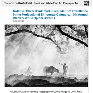 """Ancient Farming"" receives 2nd place at the Black and White Spider Awards (2017)"