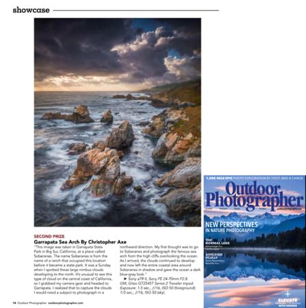 Garrapata Sea Arch in Outdoor Photographer Magazine