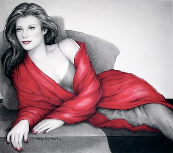 LADY IN RED , the people's choice winner at the Pastel Society of Gold Coast art exhibit at the Ojai Art Center