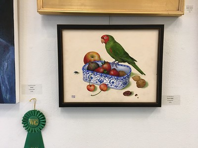 PARROT'S BANQUET was in the 2019 Westlake Village Art Guild annual juried art show at the Thousand Oaks Community art gallery
