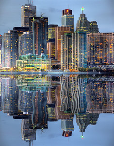 Downtown toronto in mirror
