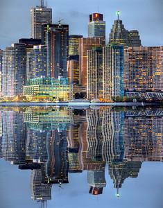 Downtown toronto in mirror