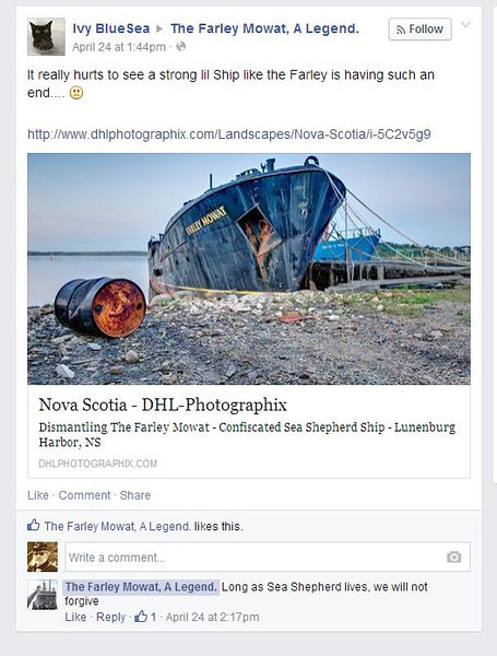 """""""The Farley Mowat, A Legend"""" Facebook Page of the Sea Shepherd Conservation Society"""