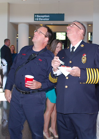 Dan Wade and Fire Chief William Stoudt looking to the future. Photo by Jason Batz.