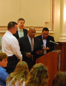 FM Todd Iaeger accepting proclamation, Jason Batz