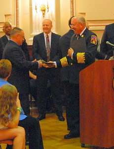 FF John Diehm receives an award, Jason Batz