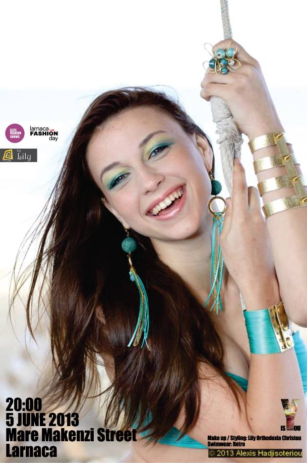 """Alena Kalashnikova modelling at the """"Fashion at Kahuna"""" event - May 2013 - this was used as a poster for Larnaca Fashion Days 2013. Jewellery by Lily"""