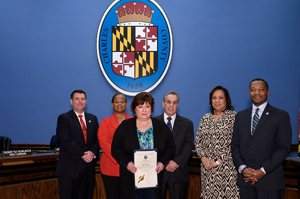 On behalf of the residents of Charles County, the Board of County Commissioners hereby celebrate Gina Gurgin for her lifelong journey as an inspiring artist for our community. Her talents, gifts and works of art demonstrate creativity, propels the imagination and adds beauty to our community.
