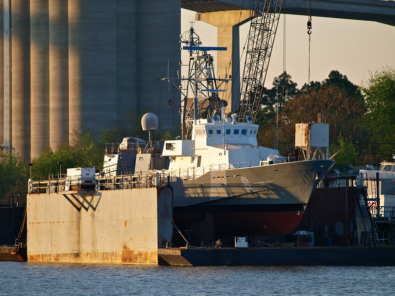 Warship in drydock