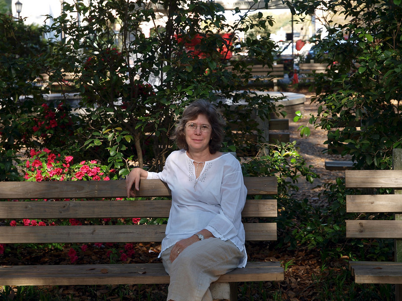 Karen on bench in Savannah park