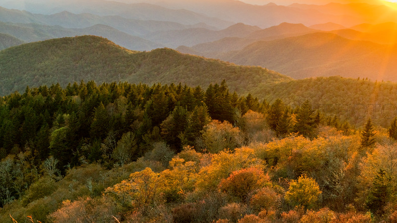 Brevard Fall Color Sunset Blue Ridge Parkway