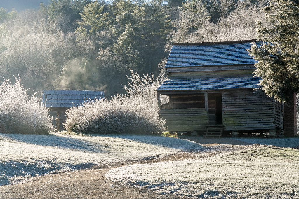 Ancient Cabin with Hoar Frost and Mist