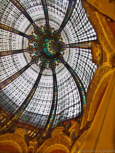 Dome of the Bon Marche department store, Paris, France.  The ribs of the dome were not deliberately distorted - this was a lens fluke.