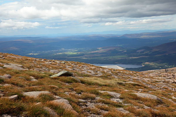 Heading down from the summit of Cairngorm to the Ptarmigam Base, Loch Morlich and Aviemore seen far below, 19/08/11