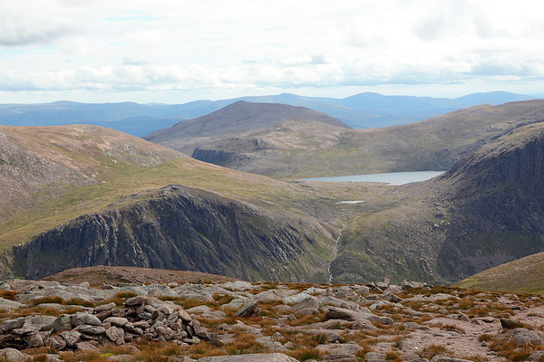 The view from the summit of Cairngorm, looking south East to Loch Avon and Beinn Mheadhoin, 19/08/11