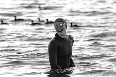 Sarah Hiscock Tickle Swim salt water practice with wetsuit in CBS
