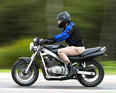 Noah White on Motorcycle in Corner Brook