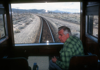 Bill enjoys the captains chair on his private train, aka the City of Bill.  Working for UP had its perks.