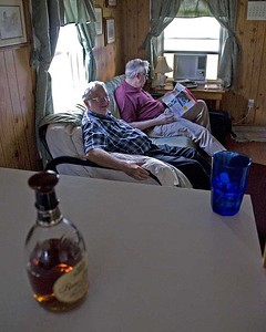 Bill and Brad relaxing in our cabin.