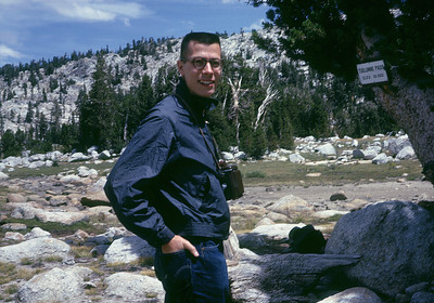 Rey at Tuolumne Pass many years ago.  Rey shared both my passion for trains was well for hiking around Yosemite.  We met at the U. C. Railroad Club when we were in college at Cal.  Circa 1960?