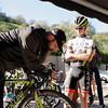 Axeon's Zack Foley tuning up Chris Putt's Cipollini bike before a ride.