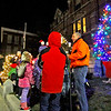 Holiday Tree is lit up in front of Ayer Town Hall lead by Alan S. Manoian, Ayer's Dir. of Community and Economic Development. Nashoba Valley Voice Photo by David H. Brow.