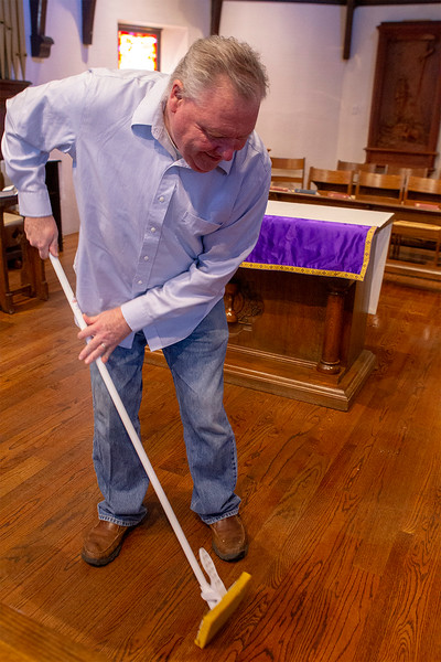 Don Parson's from Lowell Ma assisted with the mop up at the church<br /> SENTNEL&ENTERPRISE/Scott LaPrade