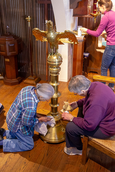 Barbara Kamb and Barbara Ledeaux cleaning the Eagle it was removed and put on the alter<br />  SENTINEL&ENTERPRISE/Scott LaPrade